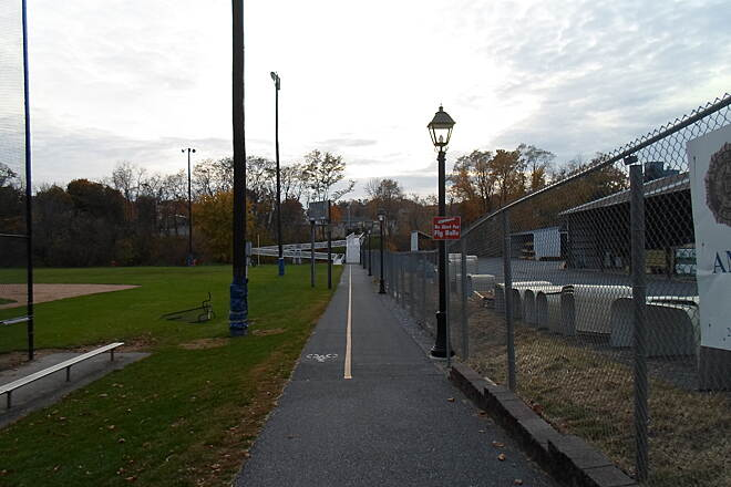 Elizabethtown Connector Trail Elizabethtown Connector Trail Looking west along the trail at the athletic field; the ramp and stairs east of the Conoy Creek bridge can be seen in the background. Taken Oct. 2015.