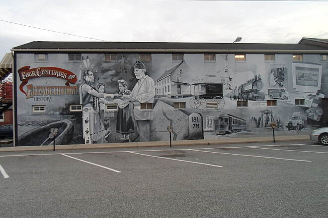 Elizabethtown Connector Trail Elizabethtown Connector Trail This mural celebrates Elizabethtown's history. Located just east of Market Street, it will be viewed by many more people when the trail is officially extended past it next year. Taken Oct. 2015.