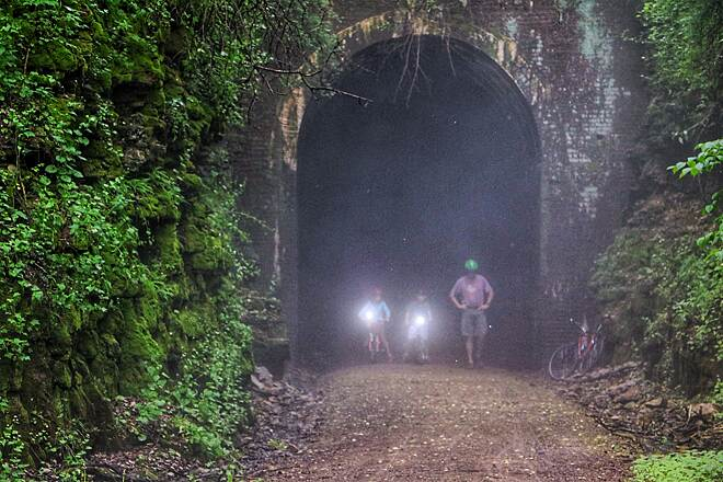 Elroy-Sparta State Trail Tunnel Vision On hot, humid summer days, the tunnel entrances fill with an eerie mist, for that Twilight Zone experience.