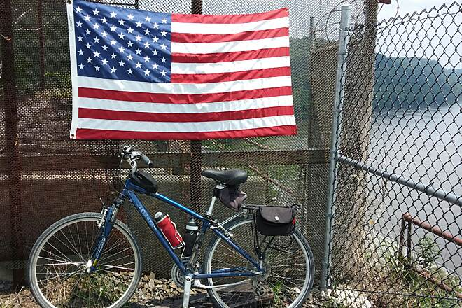 Enola Low Grade Trail National Flag day June 14 On Fence @ Safe Harbor Dam
