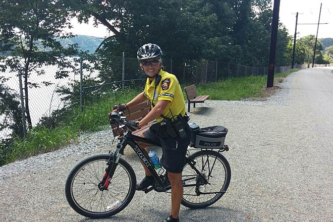 Enola Low Grade Trail Keep The trail safe!! Corporal Kim Geyer Manor Twp Police patrolling Enola Low Grade Trail in Manor Twp Lancaster Co PA