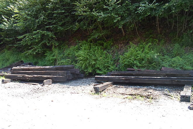 Enola Low Grade Trail Enola Low Grade Trail Old railroad ties, still stacked on the west end of the trestle. Taken July 2015.