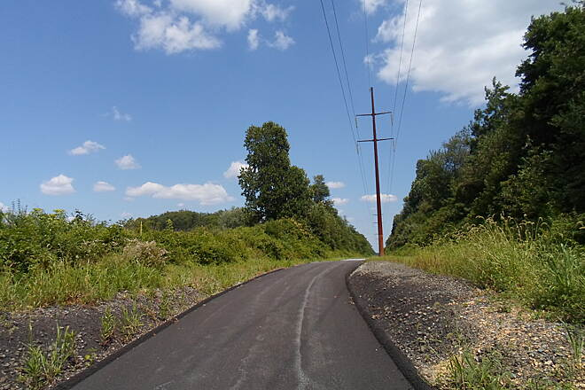 Enola Low Grade Trail Enola Low Grade Trail Ascending to the main grade of the old railroad east of Oak Bottom Road in Quarryville. Taken July 2015.