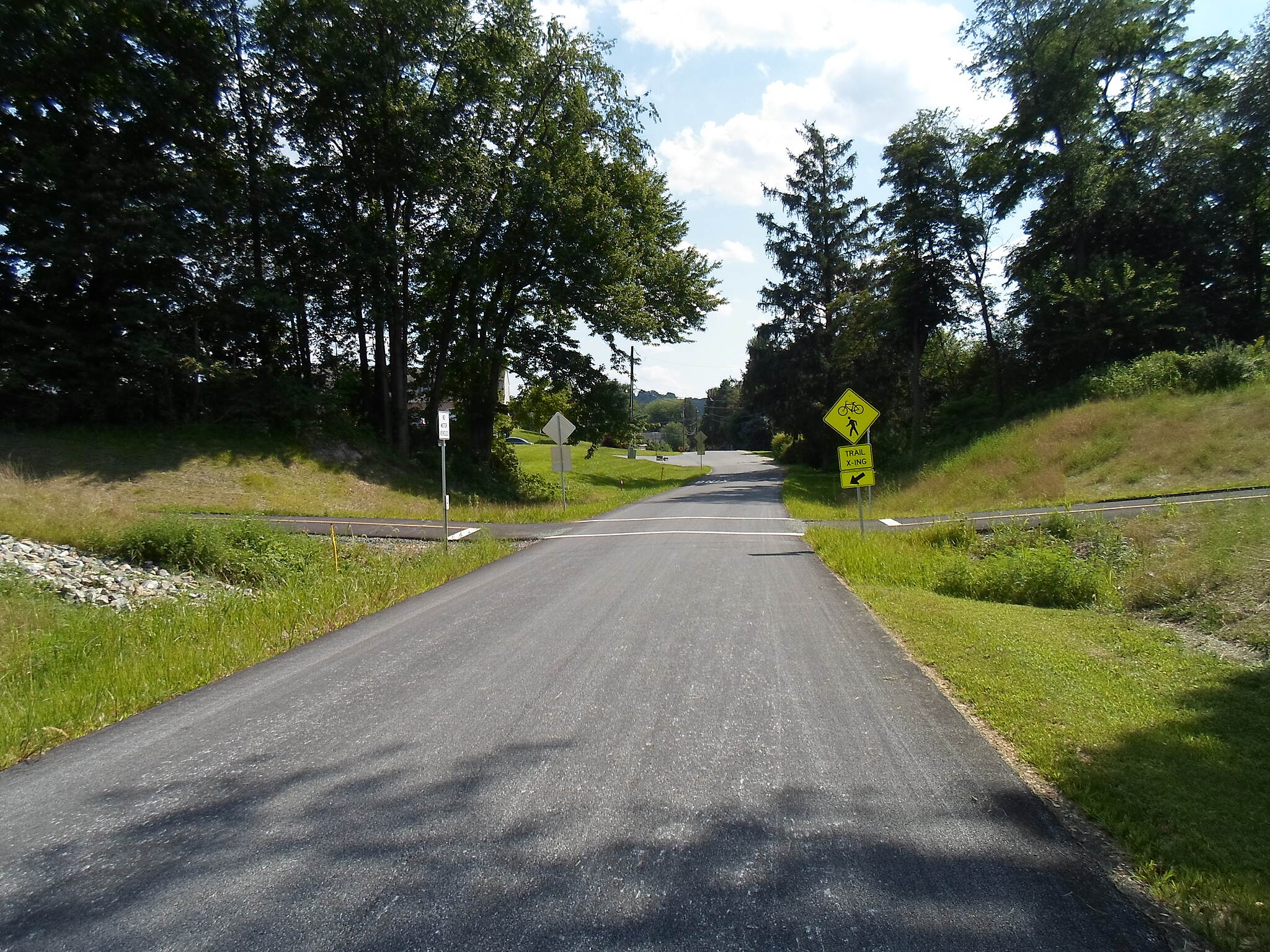 Enola Low Grade Trail Enola Low Grade Trail New at-grade trail crossing on Oak Bottom Road, on the northwest end of Quarryville. Taken July 2015.