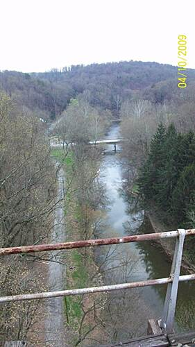 Enola Low Grade Trail view from the martic forge trestle,  looking south towards rte 324. the Conestoga trail is located in the pine trees and runs along the Pequea creek