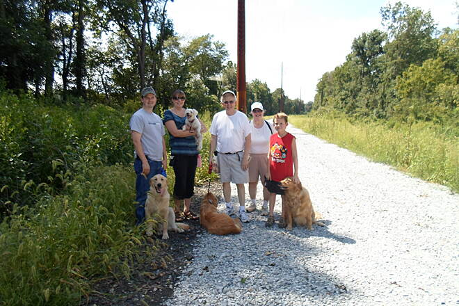 Enola Low Grade Trail Enola Low-Grade Trail Family enjoying a day on the trail near Fairmount Road with their Golden Retriever dogs. Taken August 2012.