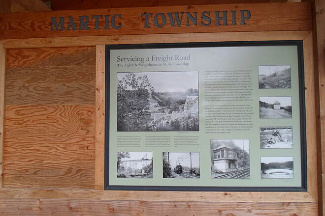 Enola Low Grade Trail Enola Low-Grade Trail Interpretive historical kiosk at the Martic Township trailhead.