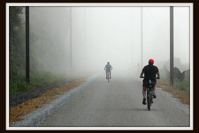 Enola Low Grade Trail Sunday morning ride. Riding the Manor side of the Enola trail in the fog.