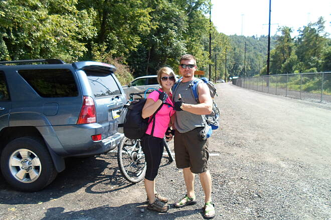 Enola Low Grade Trail Enola Low-Grade Trail Couple preparing to ride their bikes on the Manor Township portion of the trail. Taken August 2013.
