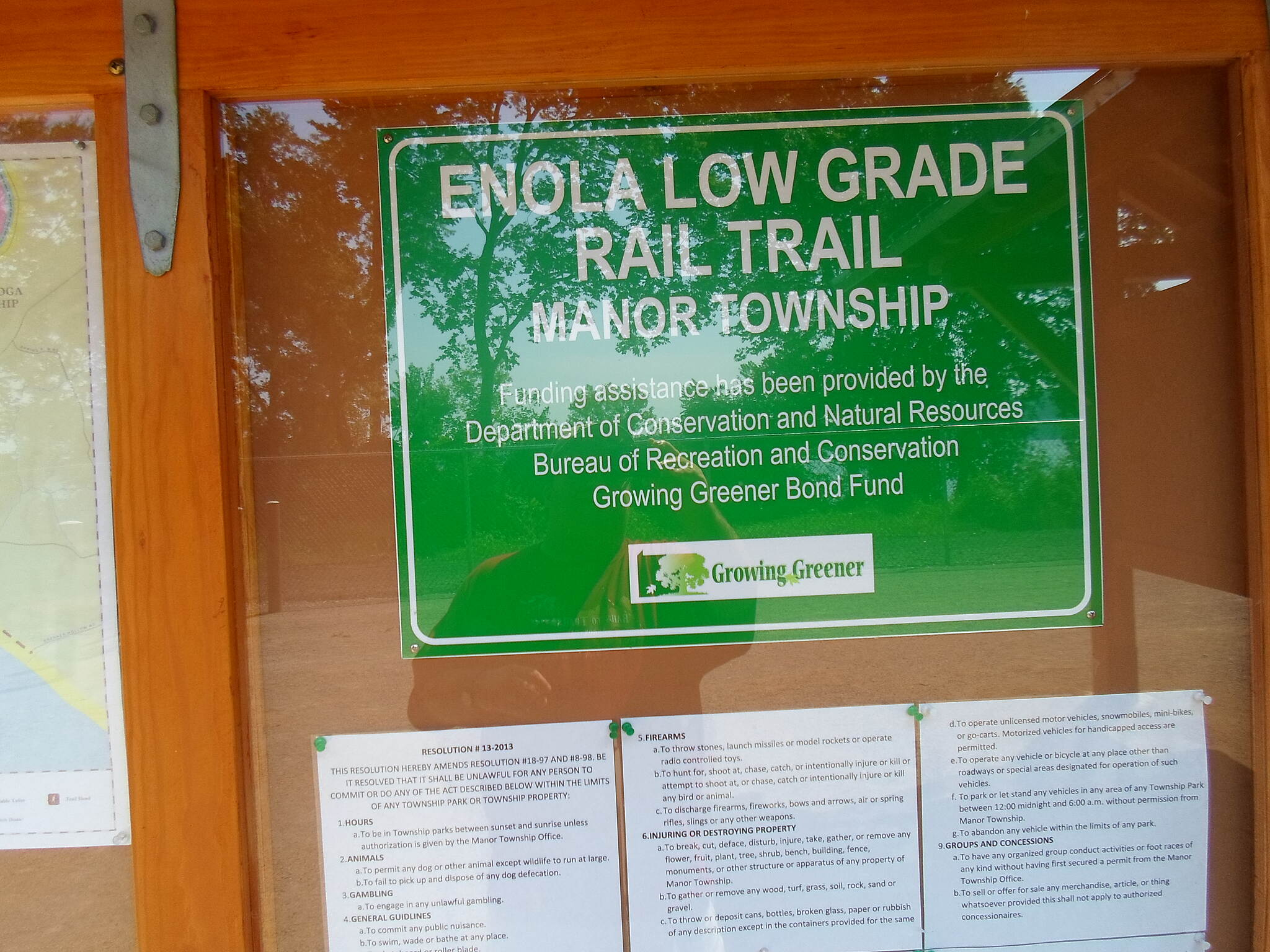 Enola Low Grade Trail Enola Low-Grade Trail Another sign on the kiosk that greets users at the start of the Manor Township portion near Creswell.