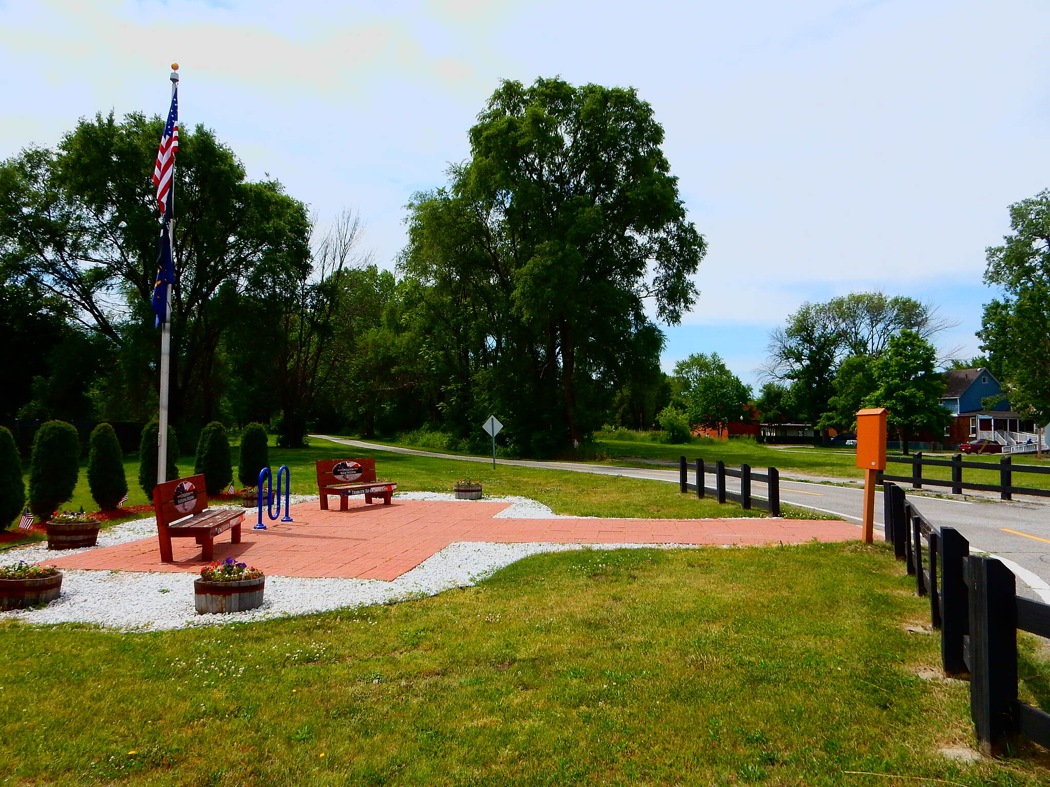 Erie Lackawanna Trail Remembering the Veterans. Here on the north end of the trail in Hammond, there is a small plaza dedicated to Veterans. Also, you can pick up the Monon trail at this point. Taken 6-3-17
