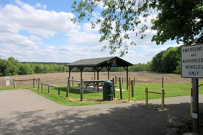 Ernst Bike Trail Picnic Pavilion Picnic shelter at the Cervone Family Trailhead. Just off Route 19.
