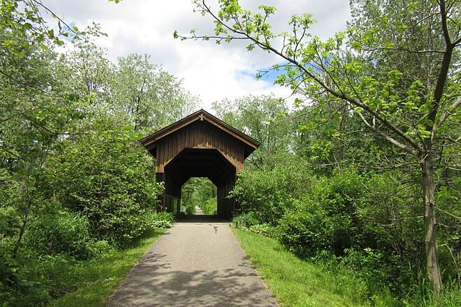 Ernst Bike Trail the Covered Bridge Located about a third mile from the Meadville end of the trail.