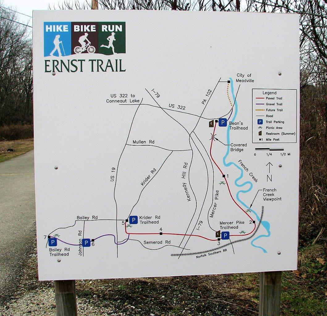 Ernst Bike Trail Trail Map Sign, Beans trailhead end of the trail New sign with map which has been recently added, Fall 2017.