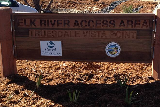 Eureka Waterfront Trail North end access sign Also known as the Elk River Access Area