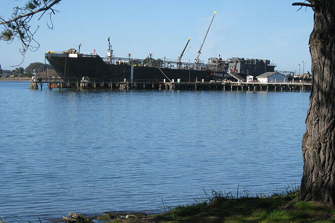 Eureka Waterfront Trail Ship on Humboldt Bay Some activity on Bay viewed from trail