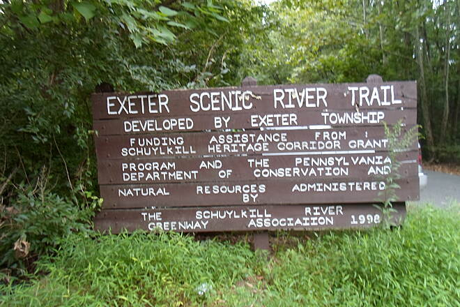 Exeter Scenic River Trail Exeter Scenic River Trail Sign at the eastern terminus off Gibraltar Road welcomes users.