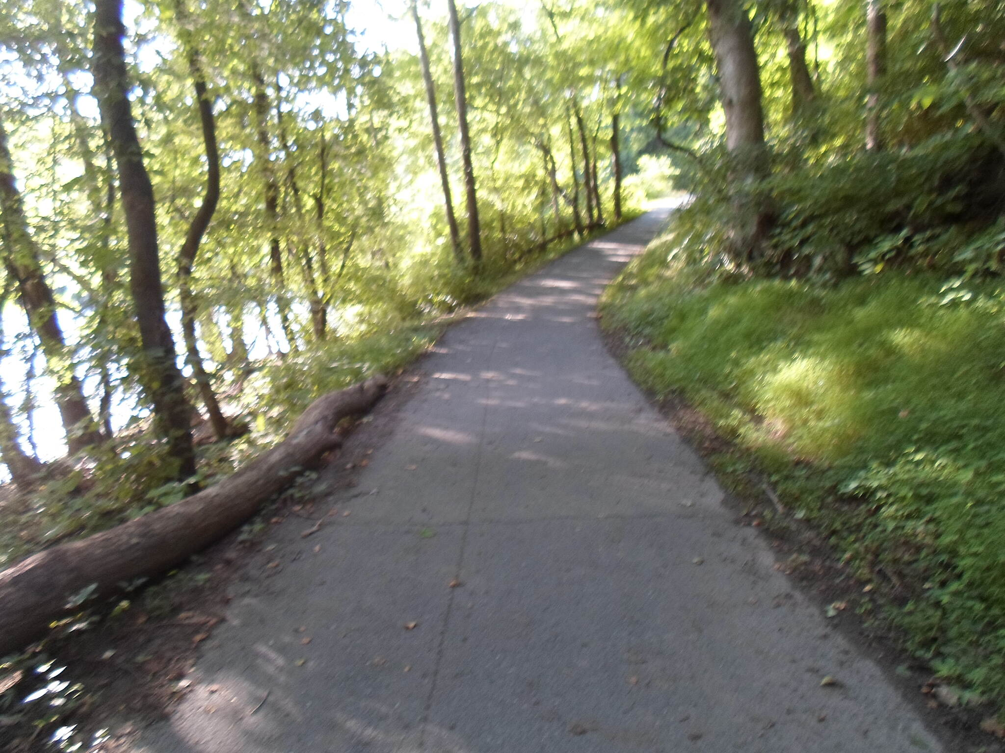 Exeter Scenic River Trail Exeter Scenic River Trail Although most of the trail has a crushed stone surface, the westernmost sections are paved with asphalt and concrete. Taken July 2014.