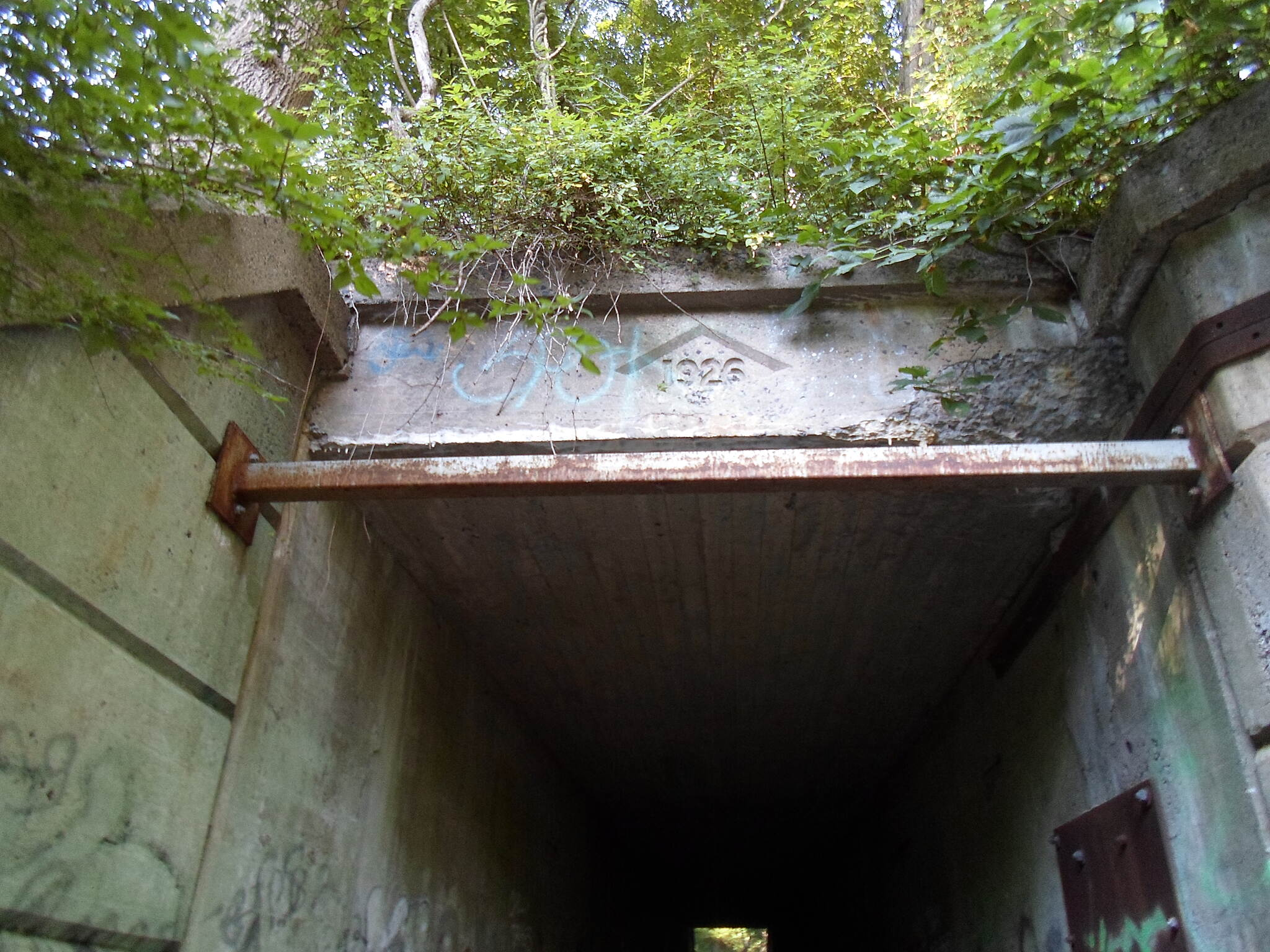 Exeter Scenic River Trail Exeter Scenic River Trail The tunnel beneath the rail line at the trail's western terminus was built in 1926; unfortunately, it's also marked up with graffiti.
