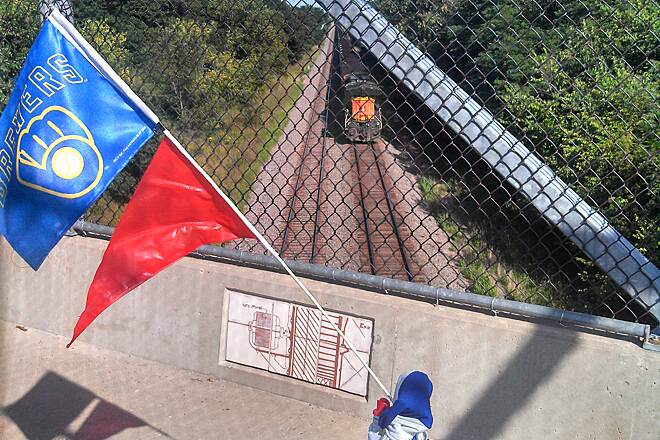 Fairfield Loop Trail Train passes beneath bridge This photo was taken on the BNSF bridge over the railroad tracks near Walton Lake. The bridge features 171 ceramic tiles created by high school art students, which are inset into the bridge's concrete curb. I enjoyed watching a coal train pass underneath.