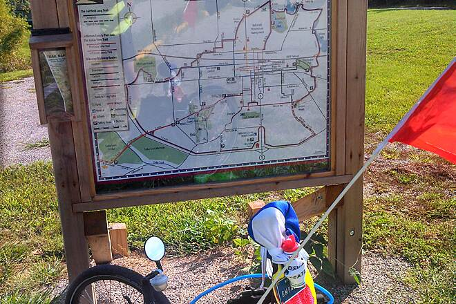Fairfield Loop Trail Map Sign at Walton Lake  A good number of signs are set up along the loop trail. They show the entire loop and 'you are here' is indicated. Also free maps are available at the sign.