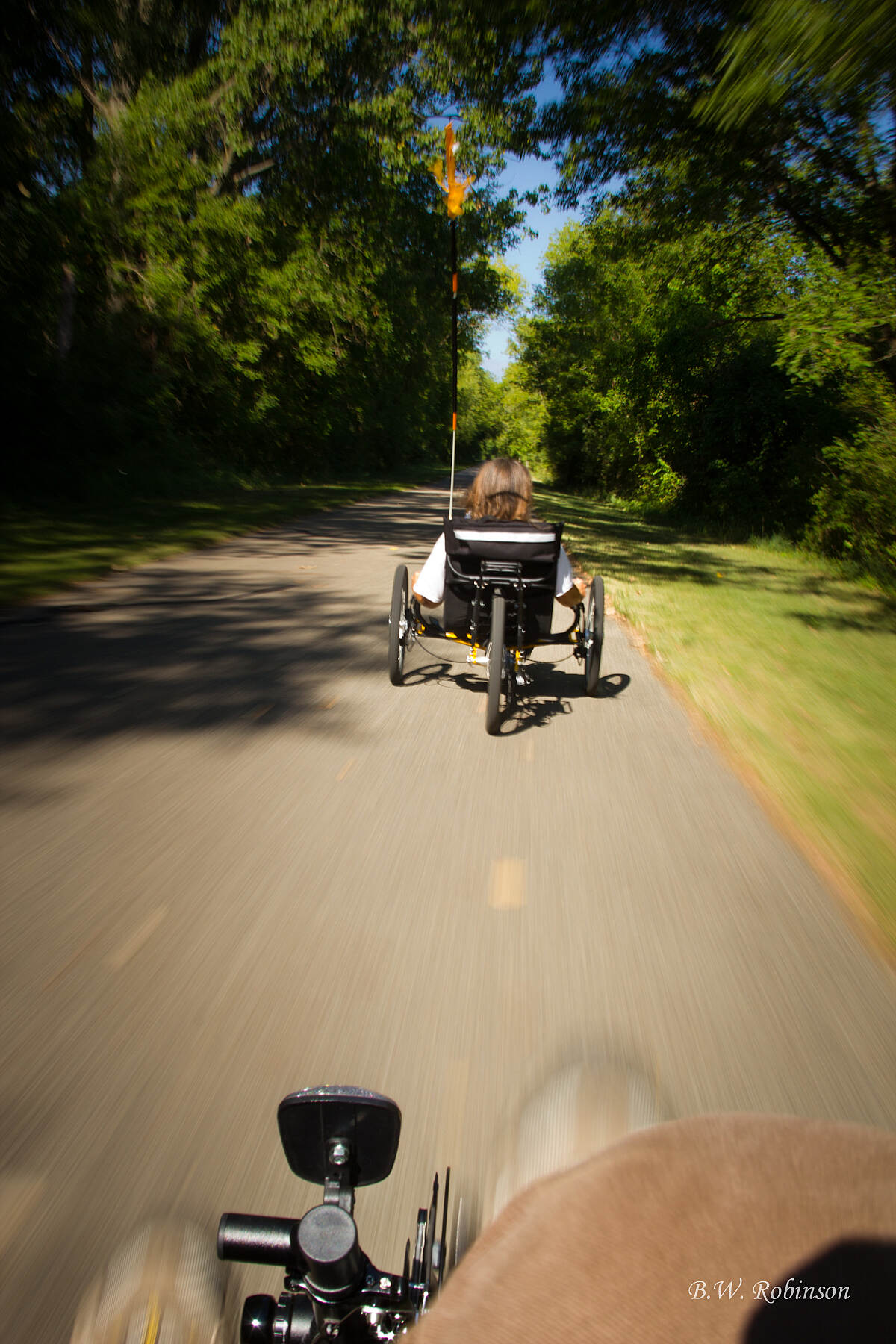 Falling Waters Trail Recumbent Trikes Riding recumbent trikes on Falling Waters Trail.