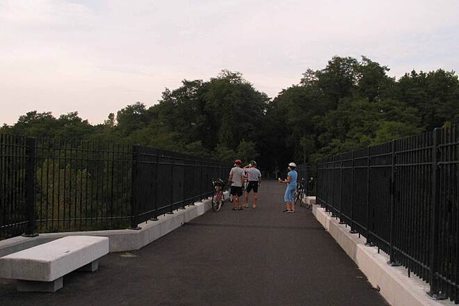 Farmington Canal Heritage Trail Beautiful Bridge over the Farmington River This is just a lovely place to sit and enjoy the river views. A former railroad bridge has been restored into a stunning rail-trail bridge