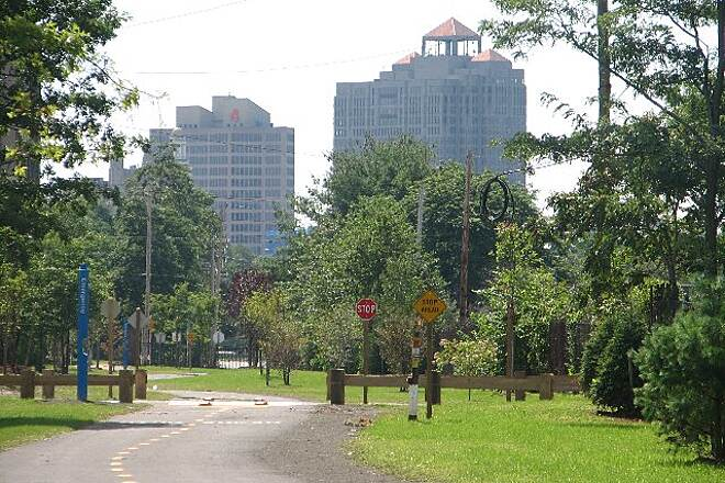 Farmington Canal Heritage Trail Downtown New Haven View of downtown buildings looking south from Science Park.