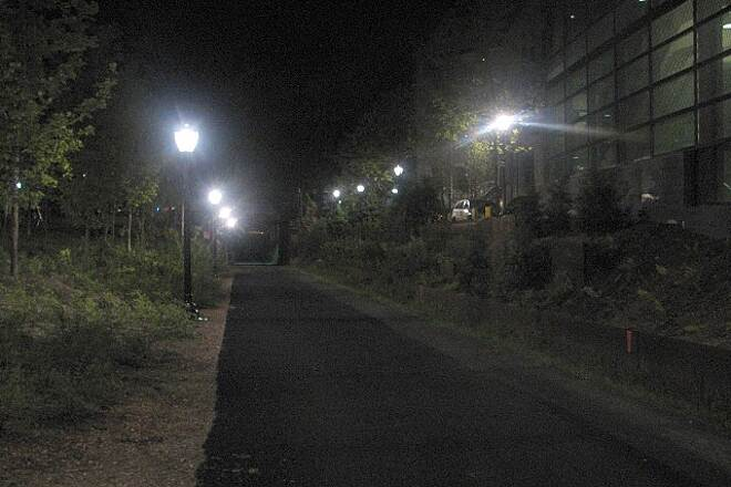 Farmington Canal Heritage Trail Night View A block-long section of the trail through the Yale campus is lighted.