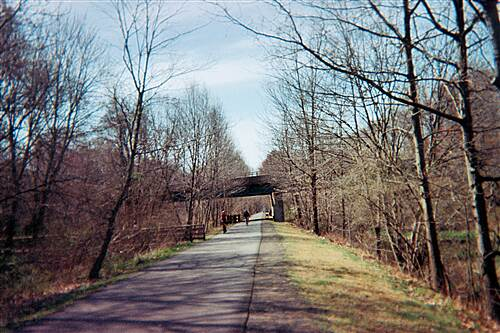 Farmington Canal Heritage Trail Oh, what a beautiful trail Riding through the woods in Hamden, with some street passing overhead in the background