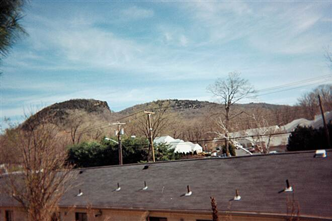 Farmington Canal Heritage Trail The Sleeping Giant A picture of the rock formation known as the Sleeping Giant taken from the trail - it's much bigger than it looks