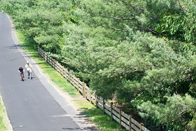 Farmington Canal Heritage Trail Looking down on the trail from the Mather St. bridge