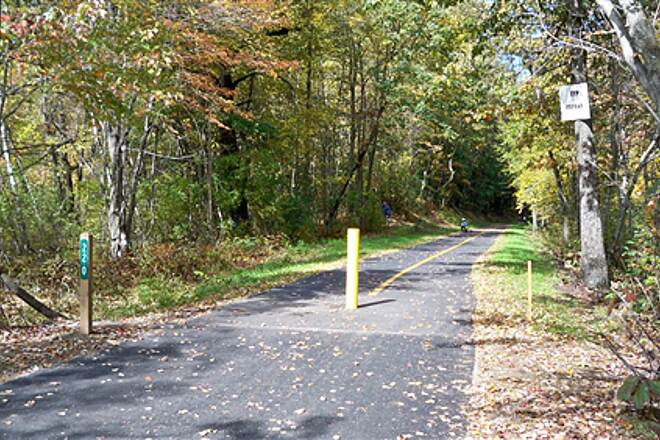 Farmington Canal Heritage Trail State Border Looking across the border from Suffield, Conn. to Southwick, Mass.