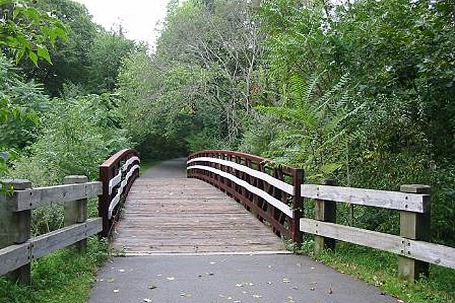 Farmington Canal Heritage Trail Farmington Canal Greenway One of many beautiful trail bridges along the route.