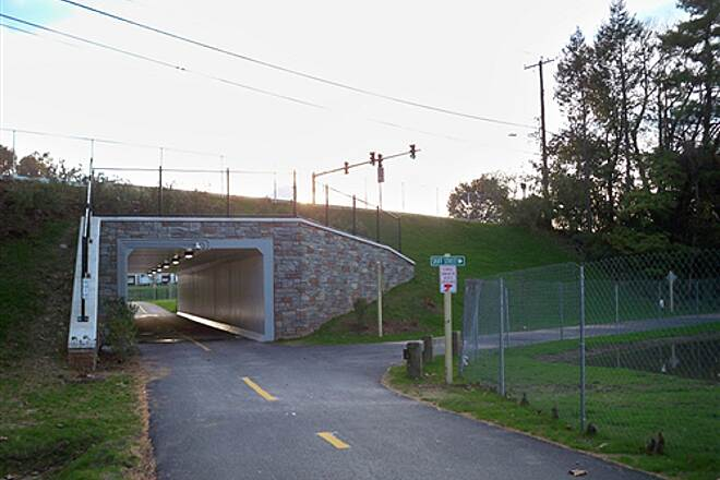 Farmington Canal Heritage Trail Skiff St. Tunnel View from the north of the Skiff St. tunnel in Hamden, opened in 2011.