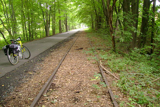 Farmington Canal Heritage Trail East Granby trail Existing railway tracks on the East Granby trail