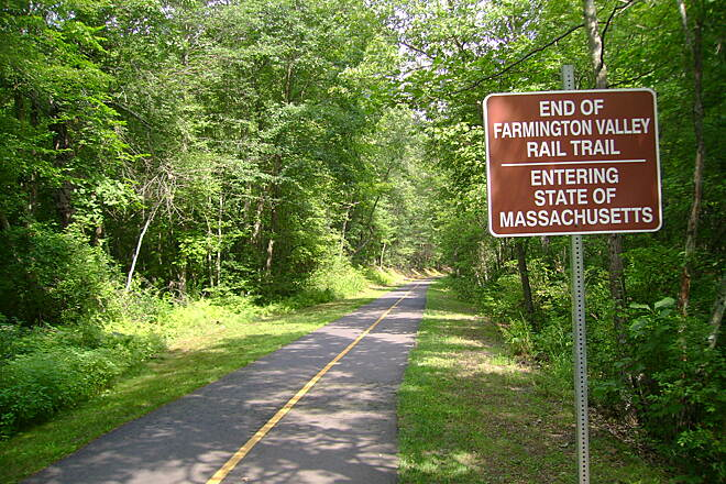 Farmington Canal Heritage Trail Connecticut-Massachusetts state border End of the Farmington Canal Greenway / Beginning of the Southwick Rail Trail