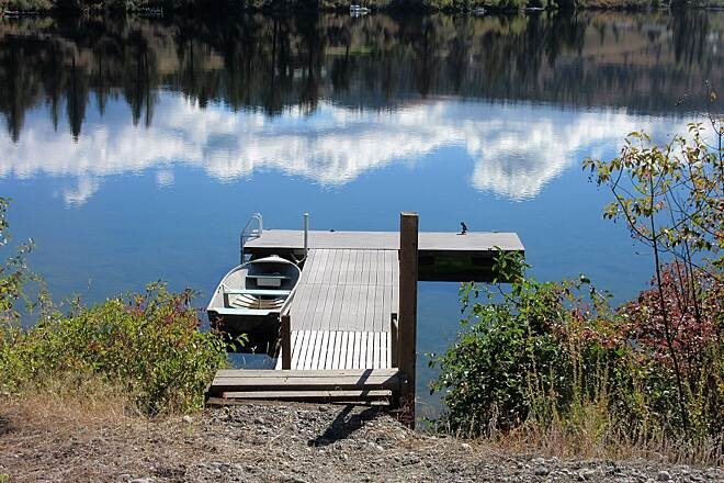 Ferry County Rail Trail Curlew Lake A trailside fishing dock on Curlew Lake. Photo by Karen Giebel, The Journey Girl.