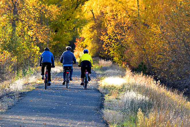 Ferry County Rail Trail The trail in early October In the fall, the trail is brightened with the golden hues of aspen, western larch and cottonwood. Photo by J. Foster Fanning, courtesy Ferry County Rail Trail Partners.