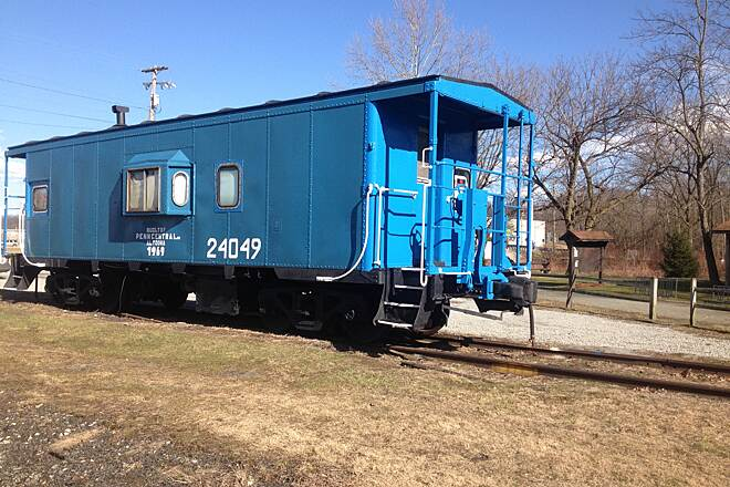 Five Star Trail The Blue Caboose! The Blue Caboose at the Depot Street trail access point in Youngwood.