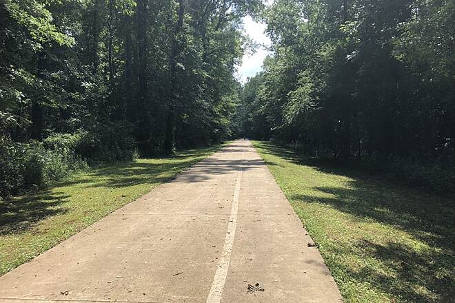 Flint River Greenway (AL) Great first ride! My wife and I just started riding bikes on trails and I have to say this was a great trail. Very clean with plenty of nice views. 2 small uphill areas at the bridges but other than that it was a nice easy flat ride.