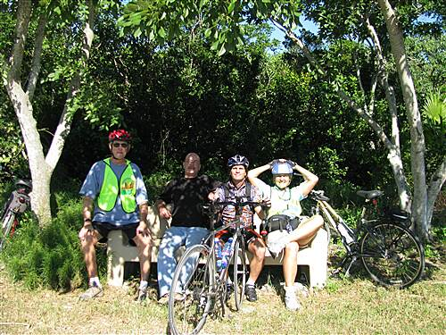 Florida Keys Overseas Heritage Trail Grassy Key section of the FKOHT Tom, Bob, James & Monica relaxing on a bench during the KL2KW 2007 trip
