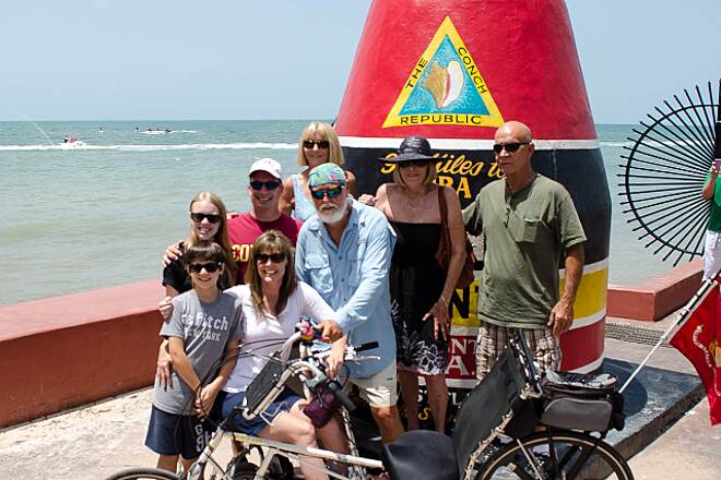 Florida Keys Overseas Heritage Trail Dad finishes the ride! :) Dad rides the length of FL (AL line to Key West) on his recumbent to bring awareness to Multiple Sclerosis for me, his daughter. Great ride ~ loved the Keys ~ Way to Go Dad!