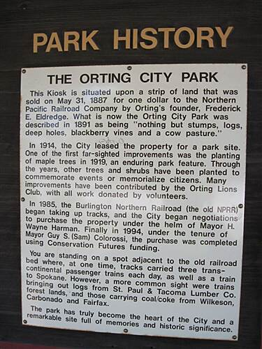 Foothills Trail FOOTHILLS TRAIL - S. Prairie - Orting City park history