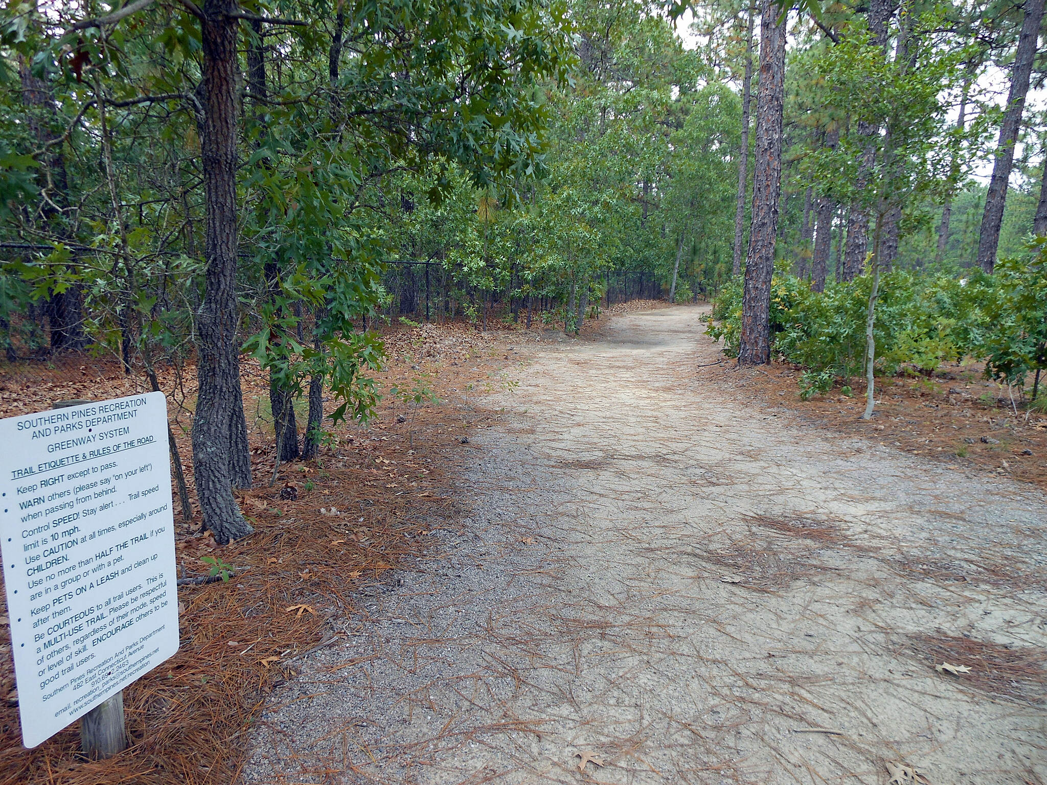 Forest Creek Trail Forest Creek Trail, Southern Pines, NC Typical view along the trail - longleaf pines and sandy surface. Sand is deep and slow in many areas.