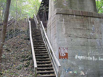 Forks Township Recreation Trail Forks Township Recreation Trail If you park at the northern trailhead (Frutchey Hill Road), you will need to climb these stairs to access the trail surface.