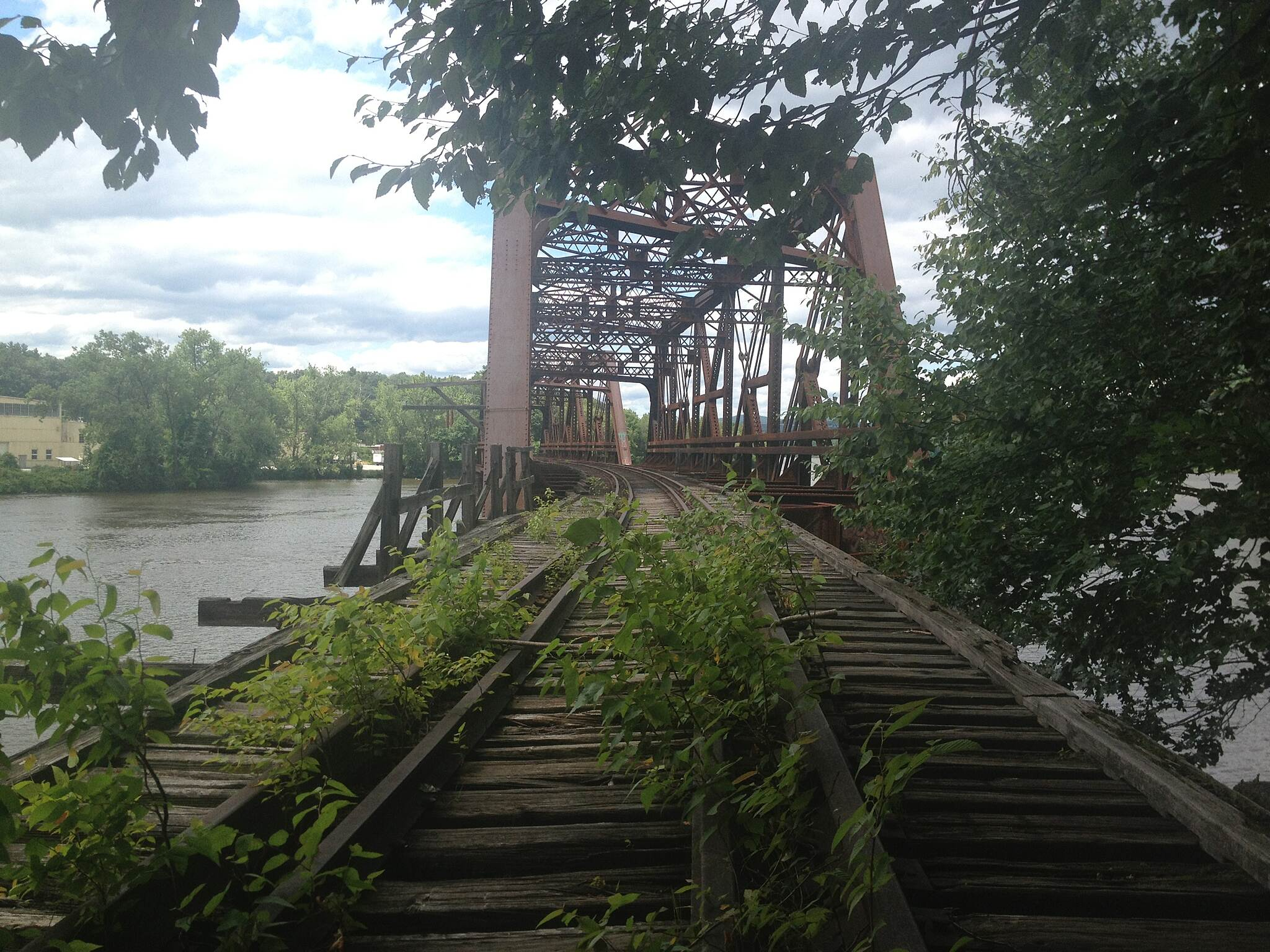 Fort Hill Recreational Rail Trail  End of the line The Fort Hill Branch Rail Trail ends with this abandoned Boston and Maine railroad trestle. W