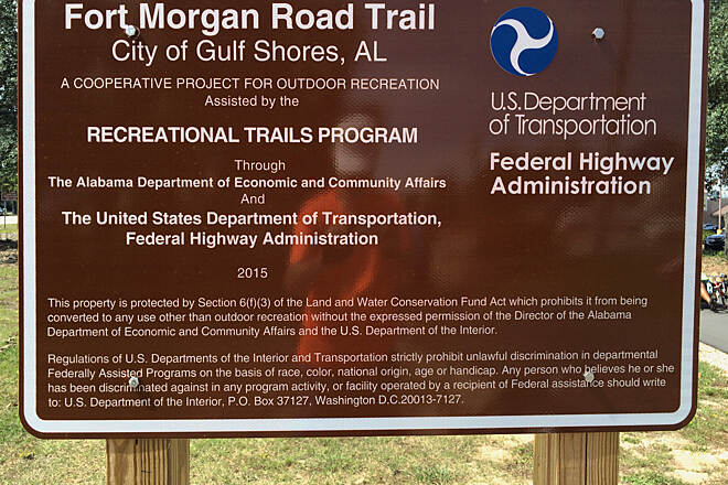 Fort Morgan Road Trail Trail sign The only sign we saw on the entire trail. NW corner of AL 59 and AL 180. No other sings or mileage markers seen along this trail?