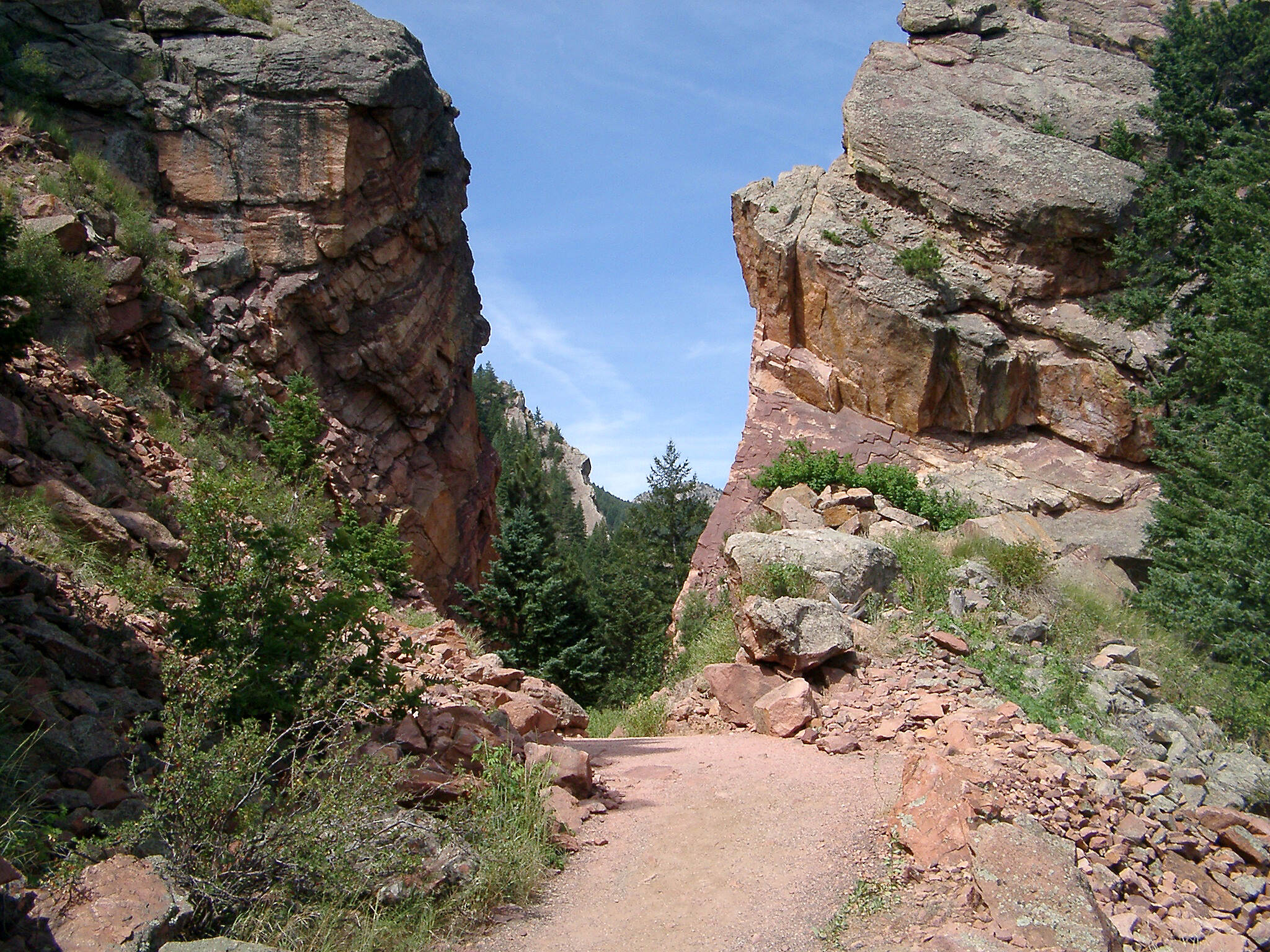 Fowler Trail Trail cuts into rocky terrain Photo courtesy Eldorado Canyon State Park