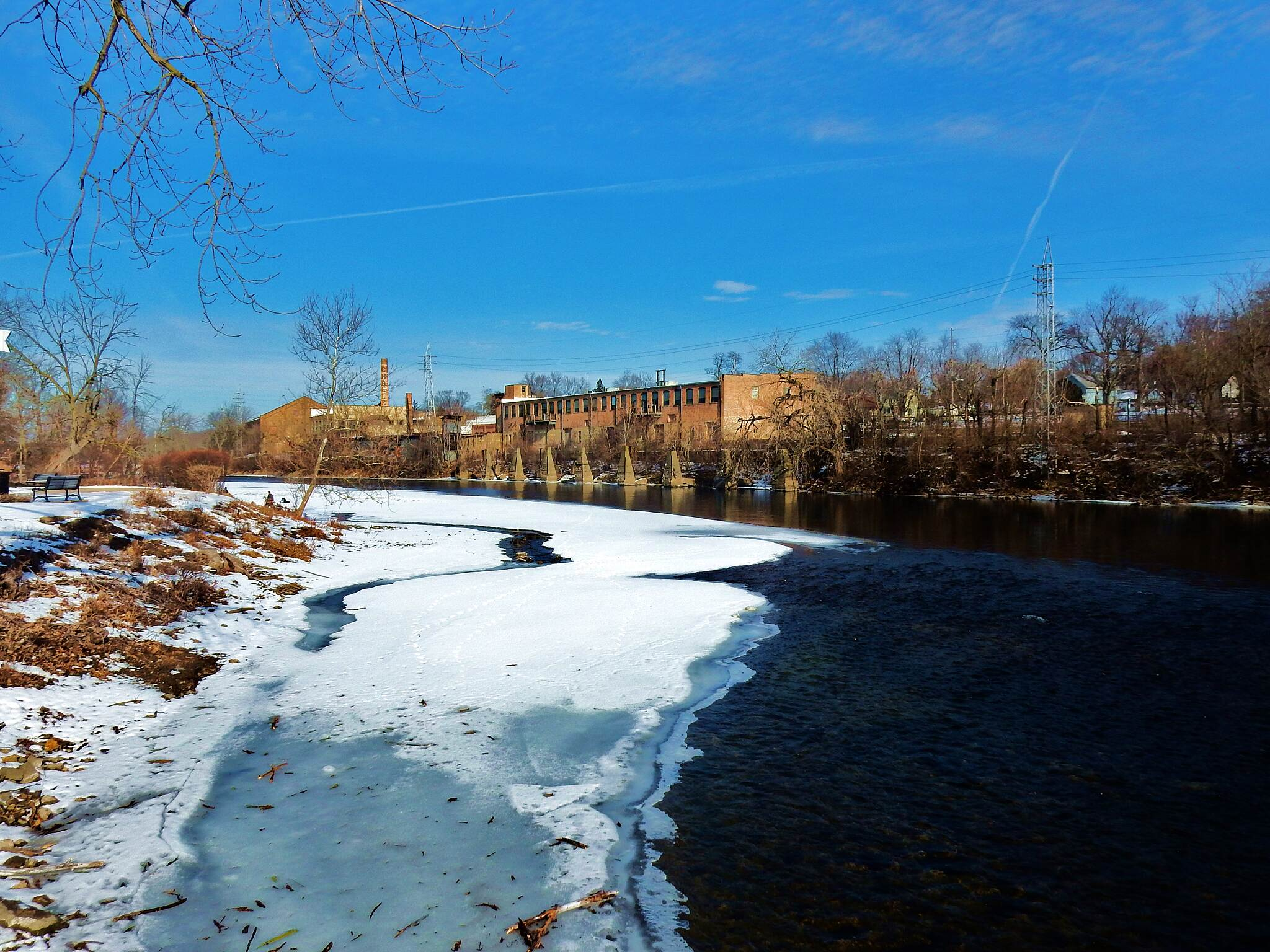 Fox River Trail (IL) Next to the River.  This photo was taken from a viewing platform, next to the trail in downtown Batavia, 1-22-18.